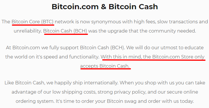 Bitcoin.com store and Bitcoin Cash (BCH)